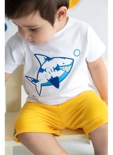Nila Kids Shark Organik Erkek Bebek Tişört Beyaz